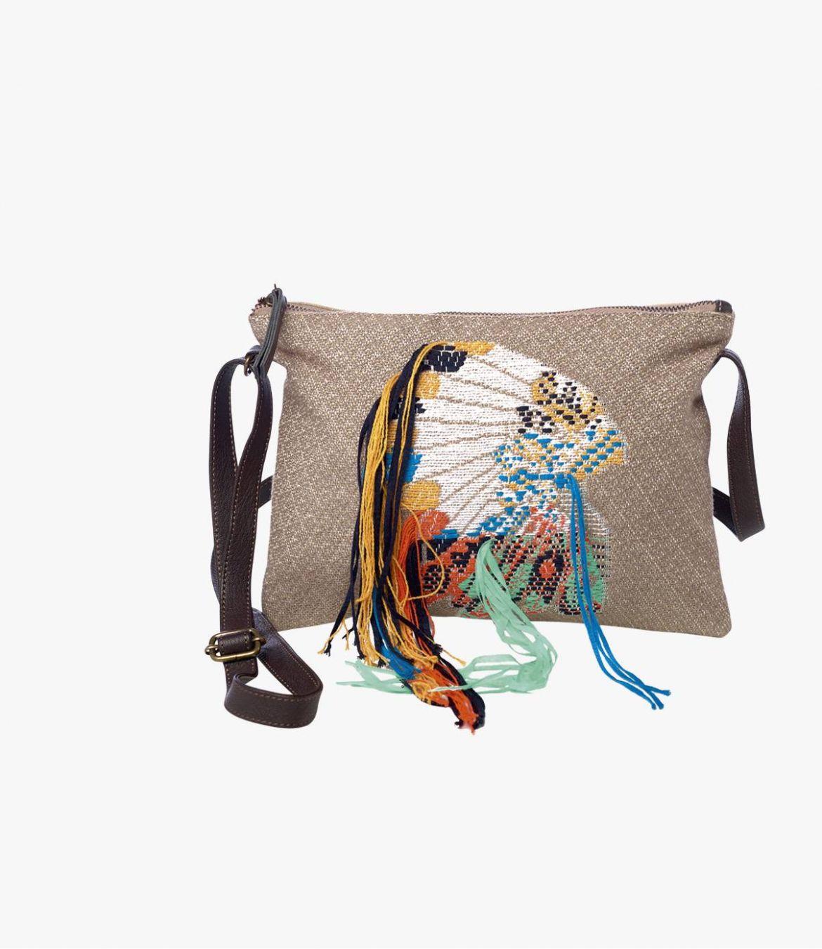 SUZY CHEF Pochette en Polyester, Polyamide, Coton, Cuir pour Femme 20 x 28 cm - 1