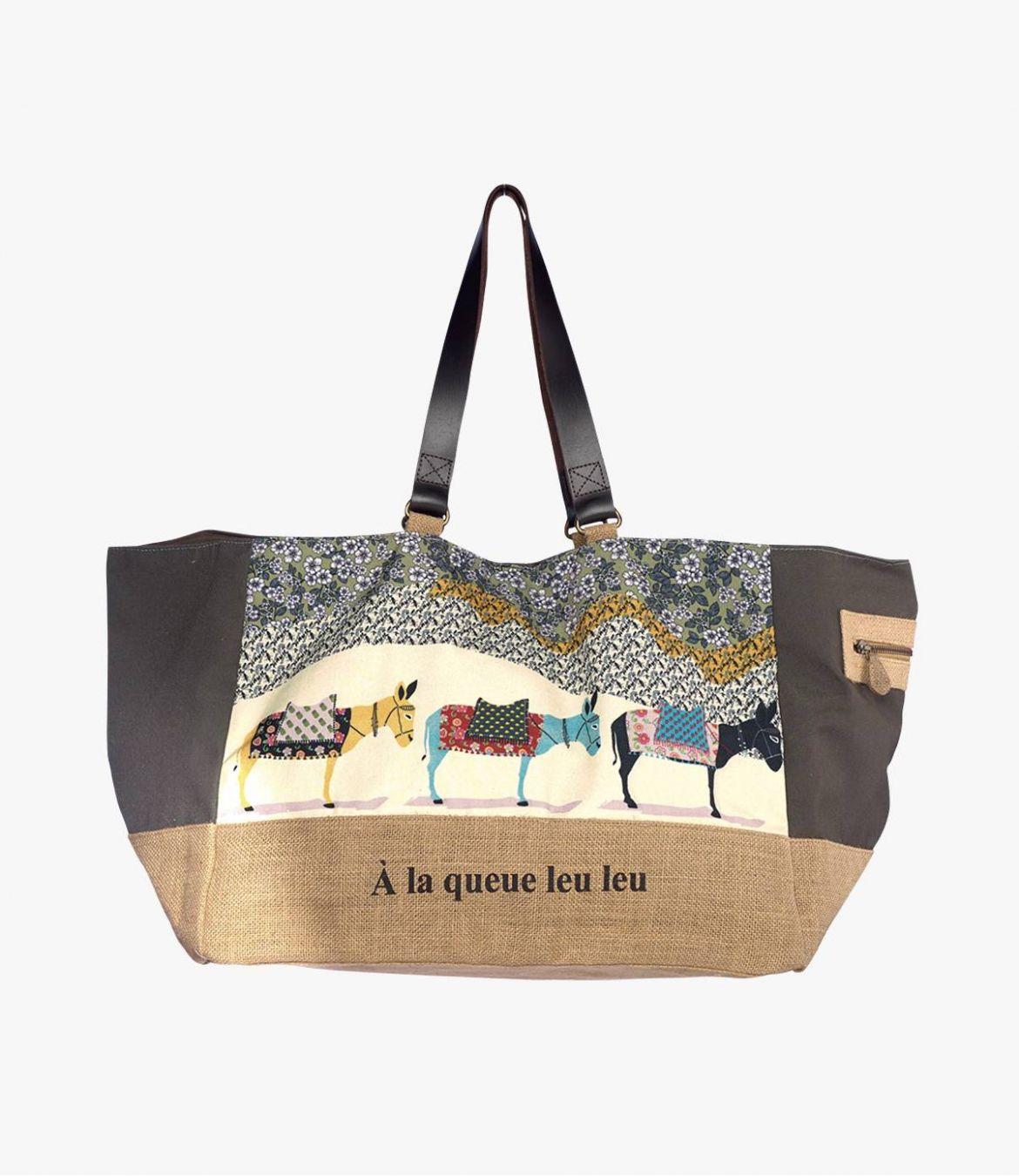 WE PENNY Sac en Jute, Polyester, Coton, Cuir pour Femme 45 x 30 x 35 cm Storiatipic - 1