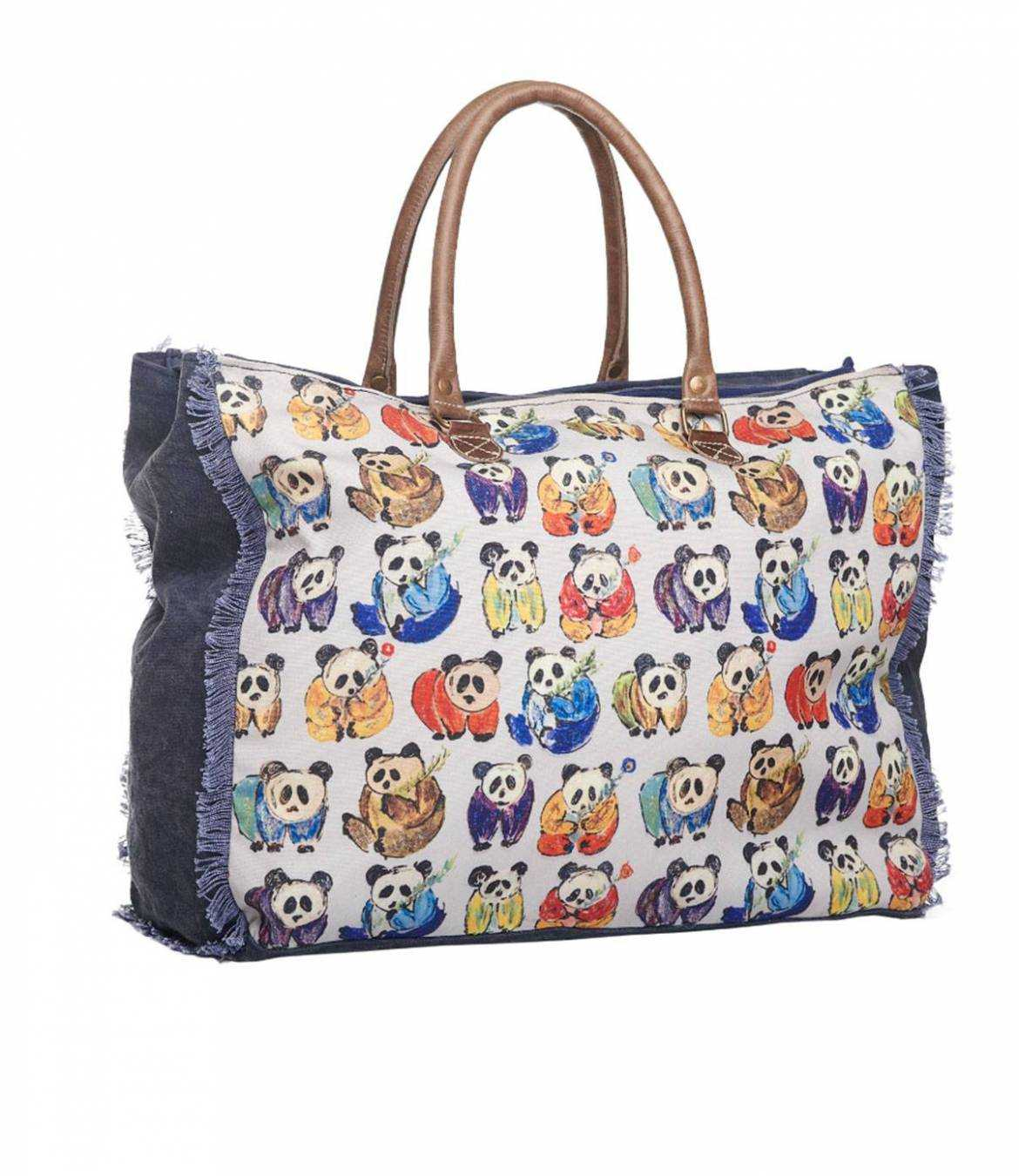 TRAVEL Travel bag in Polyester, Cotton, Leather for Women 50x40x20 cm Storiatipic - 3