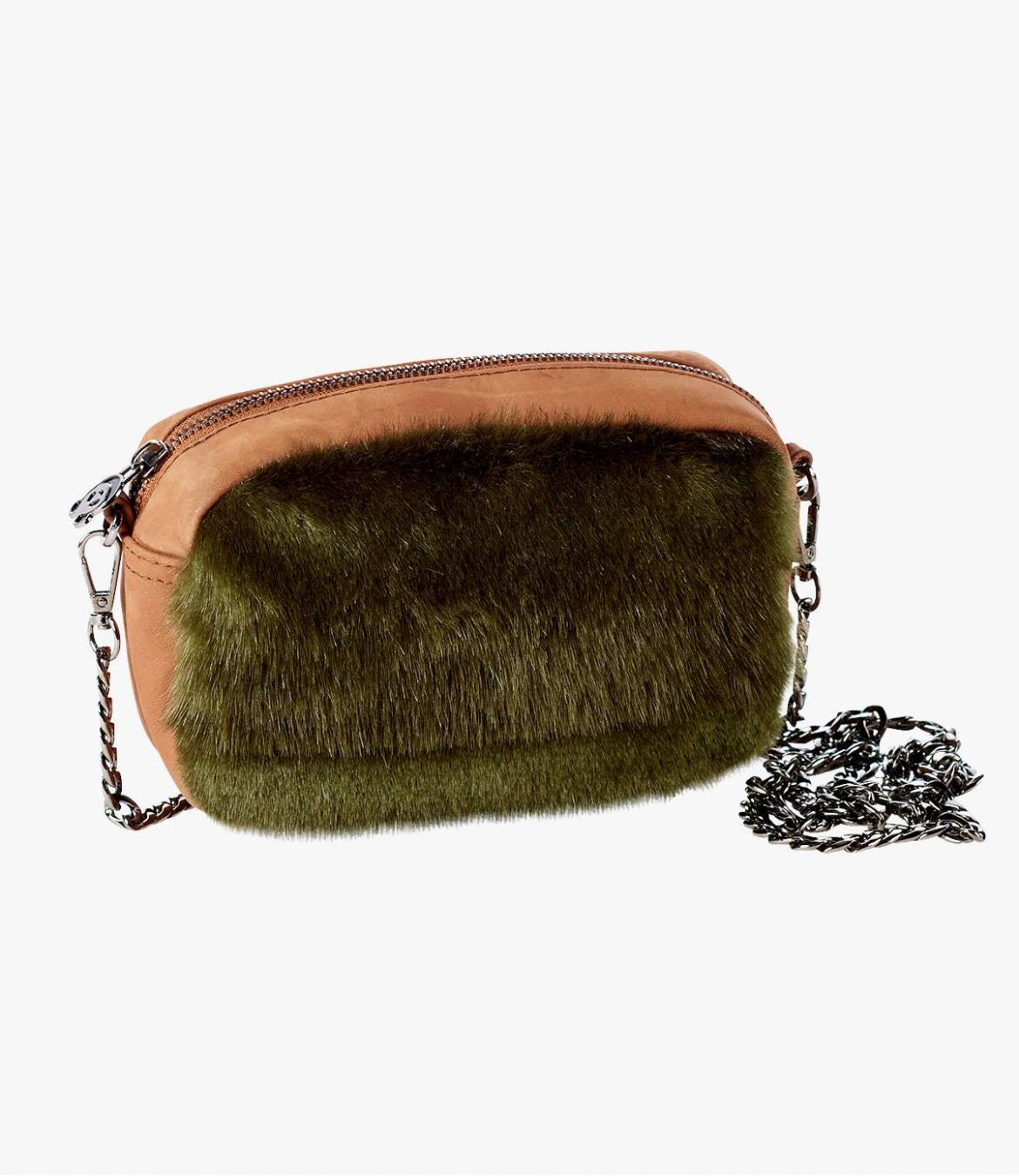 NIGHT SUEDE Suede Pouch, Acrylic, Cotton for Women 18x12x5 cm Storiatipic - 1