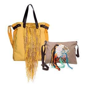 Collection de sacs imaginée par la créatrice de STORIATIPIC et reproduit à la perfection par les designers/tisseurs de la maison Malhia Kent